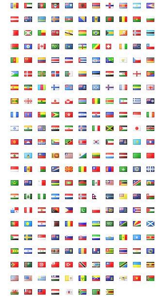 Pack de 247 icones de drapeaux de pays du monde
