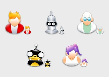 Icones futurama des personnages bender, turanga leela, philipp j.fry