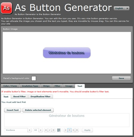 Générateur de bouton sur internet jirox.net Asbuttongen As button gen