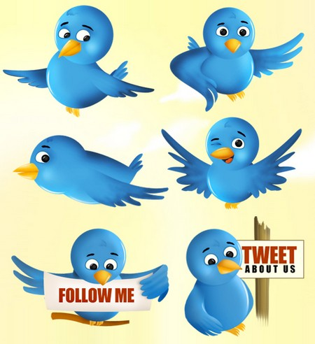 Icone image vector oiseau Twitter blue bird